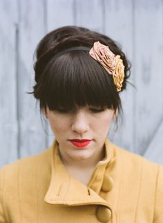 Fringe and red lip