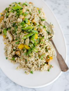 Lunch Recipe: Fried Brown Rice with Asparagus, Bell Pepper & Cashews — Recipes from The Kitchn