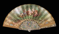 Fan  Debillemont   Date: fourth quarter 19th century Culture: French Medium: mother-of-pearl, paper, gouache, metal Dimensions: 12 1/4 in. (31.1 cm) Credit Line: Brooklyn Museum Costume Collection at The Metropolitan Museum of Art,