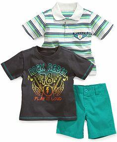 Nannette Baby Boys' 3-Piece Polo, Tee & Shorts Set