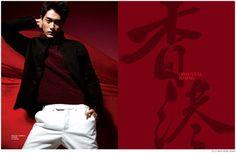 Feng Xiang Models Bold Fall Fashions from Prada, Versace + More for Elle Men Hong Kong image Elle Men Hong Kong Fashion Editorial 008 800x522