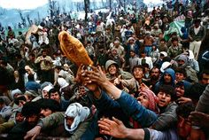 Refugiados pelean por una pieza de pan durante la distribución de provisiones en la frontera de Iraq y Turquía.