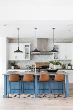 Blue Kitchen Island with Gray Quartz Counter - Transitional - Kitchen Home Design, Interior Design Kitchen, Design Design, Blue Kitchen Island, Dark Kitchen Cabinets, Kitchen Islands, White Cabinets, Living Room Kitchen, Kitchen Decor
