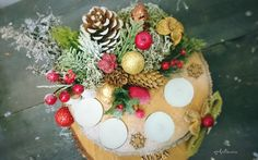 Christmas Decoration - Candles - wood slice