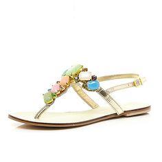 01c5c8eeeeb9 Pink jewel embellished T bar sandals. River Island ...