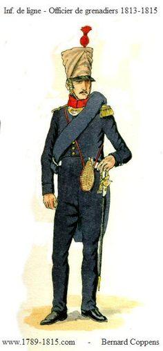 1789-1815 Linieninfanterie 1813-1814 - Offizier Grenadiers