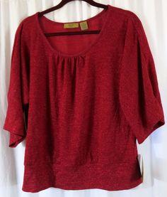 ac40e7867981e7 Valerie Stevens Petites PXL Red Top 3 4 Sleeve  ValerieStevens  KnitTop   EveningOccasion