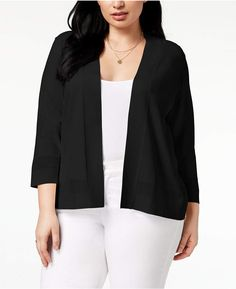 97eaf776690e4 Charter Club Plus Size Openwork-Trim Cardigan