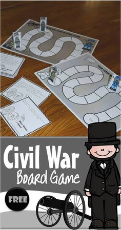 FREE Civil War for Kids Board Game - this is such a fun way for kids to learn about The Civil War!!! Game in color or black and white, low prep, complete instructions included. (homeschool, history for kids, american history, 3rd grade, 4th grade, 5th grade, 6th grade, 7th grade, 8th grade) #civilwar #history #historyforkids #historygame #freeprintable #homeschooling