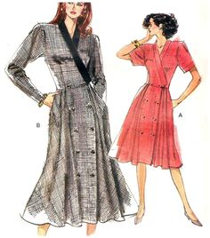 Vogue 7554  Sewing Pattern Double Breasted Dress Size 6 8 10