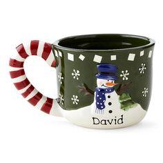 Snowman Candy Cane Mug  -  Green Background