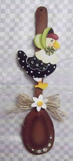 Clay Crafts, Diy And Crafts, Arts And Crafts, Wooden Spoon Crafts, Painted Spoons, Christmas Crafts, Christmas Ornaments, Country Paintings, Country Crafts