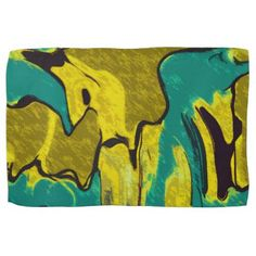 Mustard Yellow Teal Abstract Hand Towel - chic design idea diy elegant beautiful stylish modern exclusive trendy