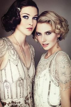 """Gatsby style - Is it just me or could this totally be Daisy and Jordan from """"The Great Gatsby""""? The hair colors just need to be switched!!"""