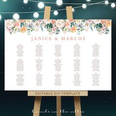 wedding table chart guest seating assignment printable chalk board