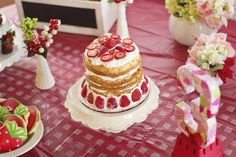 Strawberry Shortcake birthday party cake! See more party planning ideas at CatchMyParty.com!