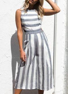 bc104cd376 W paski Bez rękawów Midi Casual Sukienki