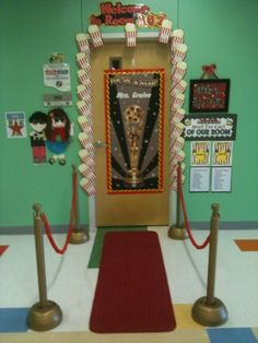 red carpet entrance ~ hollywood school party ideas