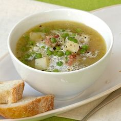 """""""Economical and family friendly"""" sums up this recipe. The bacon can be replaced with one or two smoked chicken breasts or good quality frankfurters. Green Pea Soup, Green Peas, Great Recipes, Soup Recipes, Fruit Soup, Light Soups, Souped Up, Chili Soup, Smoked Chicken"""