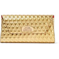 6e1be90ff2 Christian Louboutin Vero Dodat metallic embossed leather clutch ($1,095) ❤  liked on Polyvore featuring