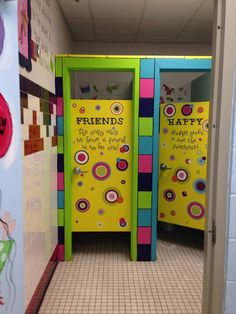 Cute idea for girls and boys bathrooms! They may not mess it up as much if it felt more like home.or if they helped to paint it and then they really wouldn't want to mess it up! Someday - I wish School Hallways, School Murals, Art School, School Office, School Secretary Office, Girls School, Bathroom Mural, Bathroom Stall, Bathroom Doors