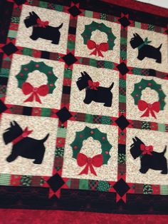Scottie Christmas quilt. I'd skip the wreaths and just have Scotties!