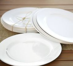 $50 but you'd never need paper plates again. Love this melamine set.  Caterer's 12-Piece Outdoor Dinnerware Set | Pottery Barn