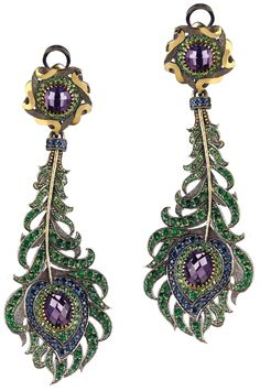 A Pair of Tsavorite, Sapphire and Amethyst Ear... | Diamonds in the Library