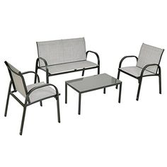 """Tangkula 4 PCS Patio Furniture Conversation Set (Gray)  Material: steel frame, fabric and Glass  Size Of Loveseat: 42.5""""X24.4""""X31.5""""(LXWXH), Size Of Single Sofa: 24.4""""X22.8""""X31.5""""(LXWXH)  Size Of Tea Table: 31.5""""X17.7""""X14.6""""(LXWXH), Max Loading Weight Capacity: 220lbs  【Package & Shipping】There is only 1 box. All the package is shipped by ups. And our warehouse is in America, the shipping takes about 3-6 Business days. All hardware and tools are also included.  【Customer service & Guar..."""