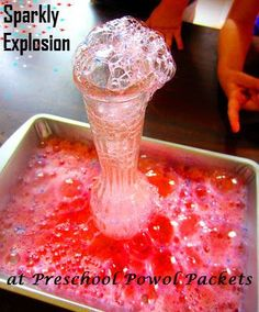 "Science Experiment: ""Sparkly Explosion!"" Baking soda and vinegar with a glitter twist"