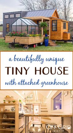 Tiny home with attached greenhouse house design eco friendly Unique Tiny Home With Attached Greenhouse Deck and Pergola - Off Grid World Building A Tiny House, Tiny House Plans, Tiny House On Wheels, Build Your Own House, Tiny House Company, Tiny House Listings, Tiny House Movement, Home Greenhouse, Greenhouse Ideas