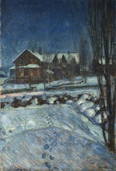 Thorolf Holmboe 1866-1935: Landscape in Moonlight with a House (1914)