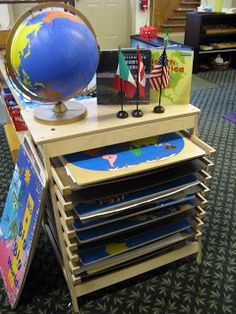 Montessori Geography Area from On the Shelf: A Picture Diary of Montessori Work in Our Classroom