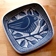 Sgraffito plate 2011 by Laurie Landry At Charlie Parker Pottery, 2724 Sixth Ave S, St Petersburg. 33712, 727-321-2071 charlieparkerpottery@gmail.com
