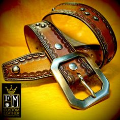 This fresh new leather belt is 1-3/4 wide natural american vegetable tanned leather. It is hand tooled with a traditional yet custom Old West border