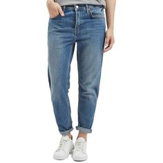 Topshop Moto 'Hayden' Boyfriend Jeans ($80) ❤ liked on Polyvore featuring jeans, mid denim, topshop, slouchy jeans, cropped jeans, slouch jeans and slouchy boyfriend jeans