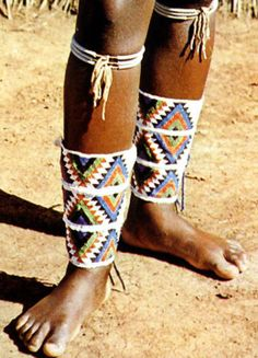 Africa | Beaded leg adornments ~ amadavathi ~ from the Zulu people of South Africa | ©Stan Shoeman
