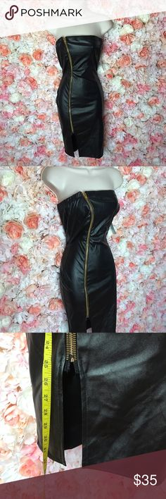 "Faux leather strapless dress Black faux leather dress approx 32"" in length. Fun zipper detail. Dresses Mini"