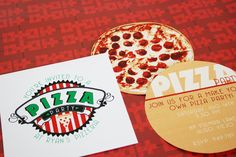 Wants and Wishes: Party planning: Printable Pizza Box Invitation... literally with 2 sided pizza invite