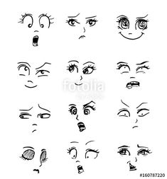 Cartoon emotions of faces., - Eyebrows - Cartoon emotions of faces. Pencil Art Drawings, Art Drawings Sketches, Cute Drawings, Funny Cartoon Faces, Silly Faces, Drawing Lessons, Drawing Tips, Stick Figure Drawing, Human Drawing