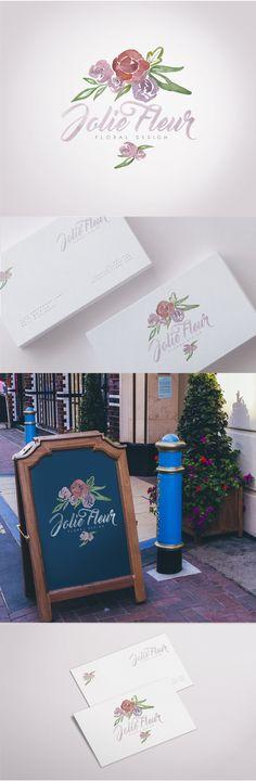 Florist / Floral Design Brand Identity   Watercolor Logo Design + Business Card   MVAZ Design  