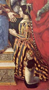 Gamurra - the Italian kirtle  1: detail from Pala Sforzesca, Lombard School, 1495. Shows a striped silk gamurra with sleeves attached, decorated with aghetti.