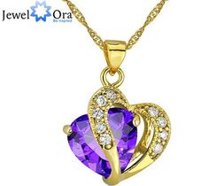 Women 18K Gold Plated CZ Pendant Necklace