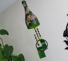 Champagne bottle windchime green wind chime small by LindasYardArt