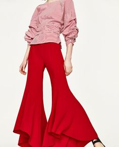 Image 4 of ASYMMETRIC FLARE TROUSERS from Zara