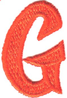 """[Single Count] Custom and Unique (2"""" by 1 1/4"""" Inches) American Alphabet Cool Sports Script Bold Capital Letter G Iron On Embroidered Applique Patch {Orange Color}"""