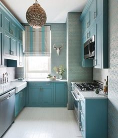 top part of bathroom Blue Paint Colors — One Kings Lane Paint color on the cabinets: Benjamin Moore's Hemlock