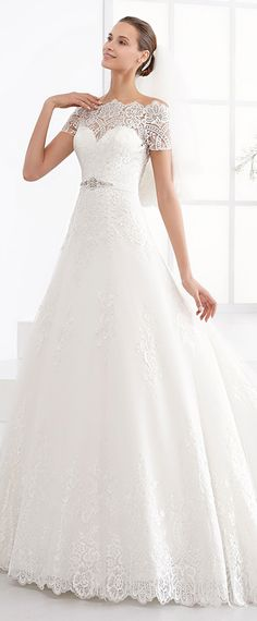 Fascinating Tulle Off-the-shoulder Neckline A-line Wedding Dress With Lace Appliques & Belt