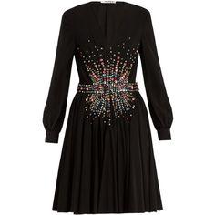 Miu Miu Plunging embellished silk mini dress ($6,070) ❤ liked on Polyvore featuring dresses, black multi, evening cocktail dresses, short evening dresses, long sleeve mini dress, short dresses and short cocktail dresses