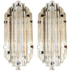 Pair of Mid-Century Modernist Sconces by Venini in Pale Amber Murano Glass 1